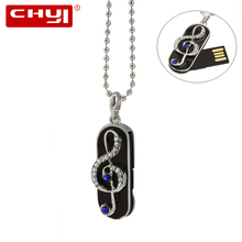CHYI Jewelry Music Note USB Flash Drive Real Capacity 4GB 8GB 16GB 64GB Pendrive 32GB Pen Driver Necklace U Disk Memory Stick