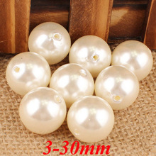 AAAAA Quality ! 3-30mm Ivory Imitation pearl Beads ,Acrylic Plastic Smooth Round Ball Spacer Beads For Jewelry Making APB01