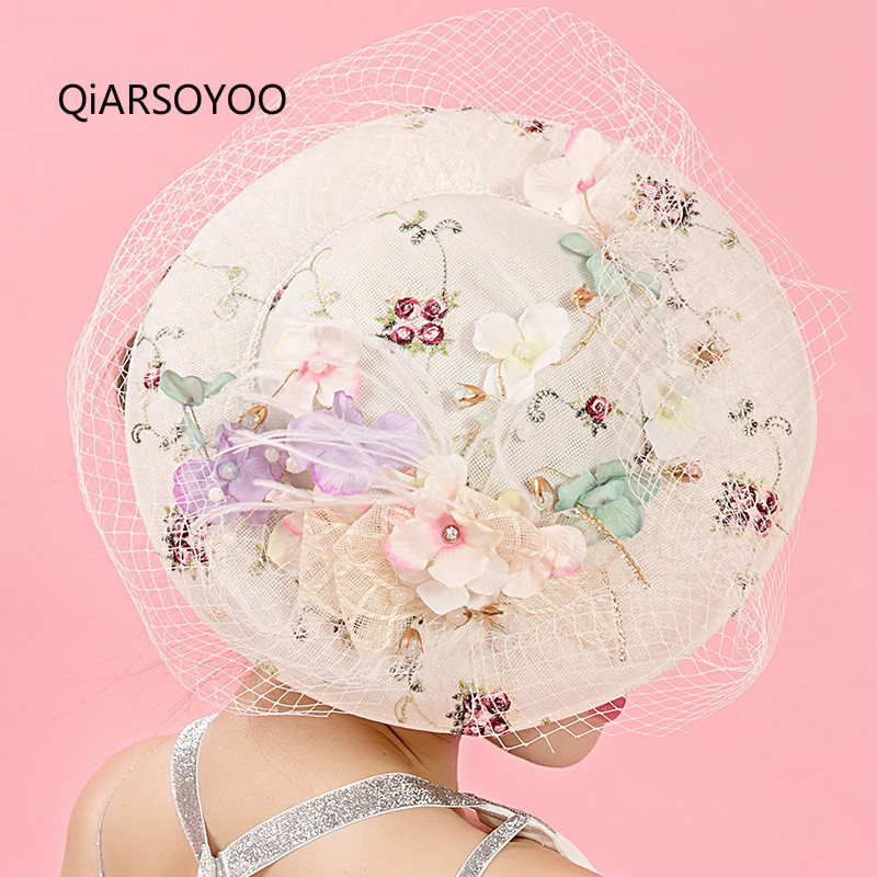 Korean Embroider Wedding Fascinator And Hats For Women Flower Veil Bride Hair Ornaments Ladies Fashion Horse Race Show Headdress<br>