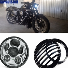 "Harley Sportster Led Headlight 5 3/4"" Aluminum Black Grill Cover 5.75"" Motorcycle Head Light Cover Sportster XL 883 1200"