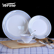 YeFine Simple Fashion Bone China Tableware European Style Steak Plate Cup And Saucer Set Dinnerware Hotel Fruit Cake Plates
