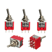 5Pcs 3PDT ON/OFF/ON 3 Position 9 Pins Mini Toggle Switch 6A 125VAC/2A 250VAC Car Boat Low Price(China)