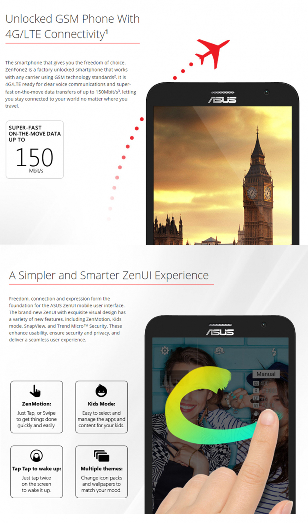 New Original ASUS Zenfone 2 Ze551ML 64GB ROM 4GB RAM Quad Core 5.5 inch 3000mAh 13MP Android 5.0 LTE 4G Dual Sim Card Cell Phone