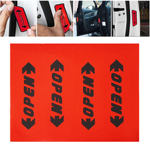 4pcs/set Reflective Open Sticker Door Open Warning Safety Car Styling Car Sticker Auto Decor