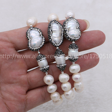 Handcraft natural Pearl bracelets bangle Natural Pearl Paved Zircon with natural irregular pearls Bracelet  Druzy Bangles  18