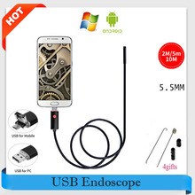 5.5MM 2-in-1 endoscope 5M Cable USB Endoscope Android Camera 5M Snake Tube Pipe Inspection USB Endoskop Waterproof Borescope Cam