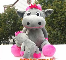 huge lovely cow plush toy sitting gray cow stuffed doll big mouth cow toy birthday gift about 140cm