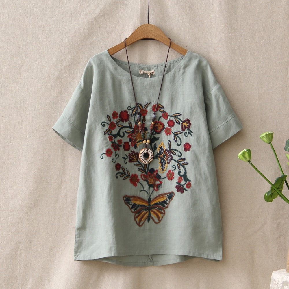New 2018 summer female tops short sleeve short sleeved shirt head loose blouse Embroidered shirt fashion La camisa(China)