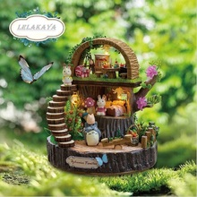 Forest DIY Doll House wooden Totoro doll houses Home Decoration Kit Room miniature home Assembling Toys dollhouse Birthday Gift