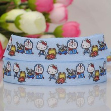 "50 yards 5/8 "" 16mm Hello Kitty Doraemon tape printed FOE ribbon DIY Holiday paty decoration clothing hair accessories"