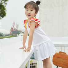 New Mother and Daughter Summer Girls Dress Kids Cotton Rainbow Trumpet Sleeve White Color Dresses for Baby Loose Clothing