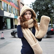 Women Winter Warm Soft Plush Faux Fur Hooded Hat Scarves Scarf Gloves A Nice Present Hot Selling(China)