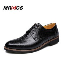 MRCCS Alligator Crocodile Style Men's Dress/Business Shoes,Italian Luxury Brown Leather Party Social Shoe,New Design Fashion(China)