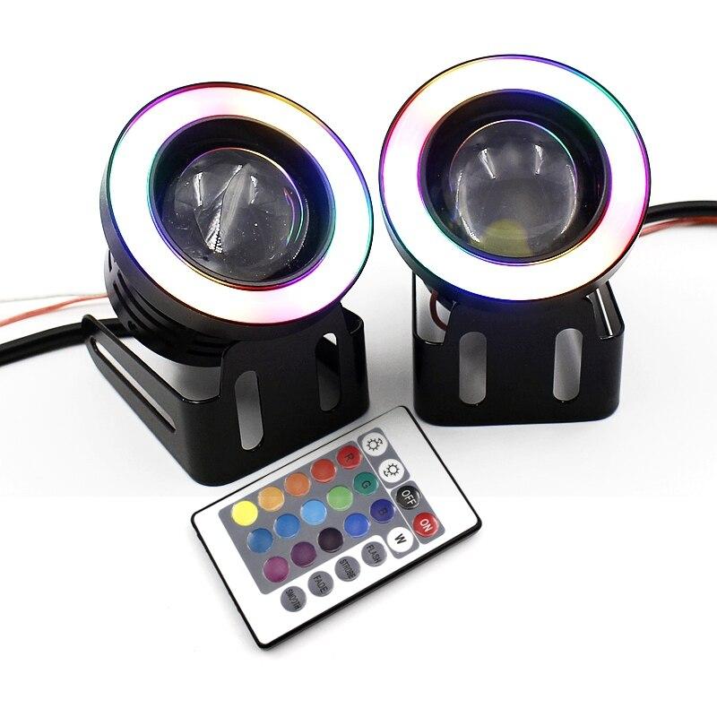 2X LED COB Fog Angel Eyes HeadLamp IR Control Remote RGB Variable Color 3/3.5Inch Waterproof Car Styling Daytime Running Lights<br><br>Aliexpress