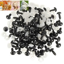 100Pcs/Bag DIY Doll Toy Eyes 12mm Black Plastic Safety Eyes Puppets Doll Crafts Doll Eyes Handmade Accessories with Washers