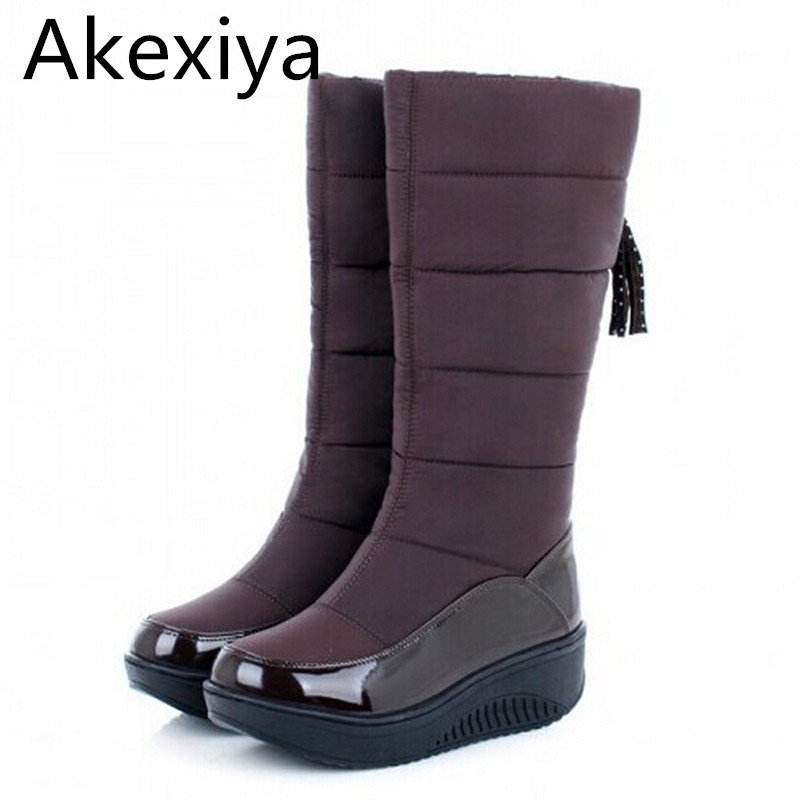 Akexiya New 2017 Thermal Snow Boots Platform Comfortable Waterproof Women Boots Winter Wedges High Leg C Casual Fur Boots<br>