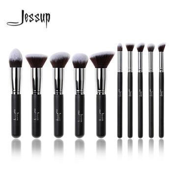 Nouveau Jessup Marque Professionnel 10 pcs Noir/Argent Fondation blush Liquide Kabuki brosse de Brosses de Maquillage outils ensemble de Beauté Cosmétiques
