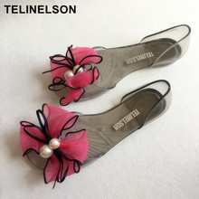 Sweet Lace Flowers Pearl Bow Sandals Plastic Jelly Transparent Beach Butterfly Knot Shoes(China)