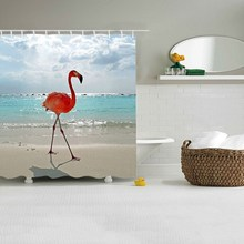 3D Digital Printing Flamingo Polyester Waterproof Hook Models Shower Curtain Family For Bathroom Shower Home Decoration