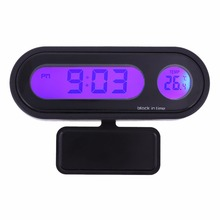 Mini Car Thermometer 12/24 Hours LED Backlight Auto Vehicle Clock Calendar Digital Automotive Interior Temperature Meter Gauge(China)