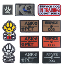 Emboridery Patch K9 ASK TO PET SERVICE DOG Tactical 3D Army Morale Patch Emblem Military Embroidered Patches Badge For Clothing(China)