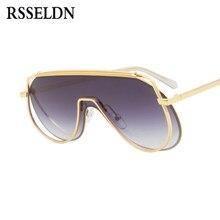RSSELDN Nova Moda Uma Lente Pedaço Óculos De Sol Das Mulheres de Metal de  Grandes Dimensões Do Vintage óculos de Sol Feminino Ro. f04abd37fd