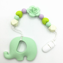 2016 silicone pacifier rose flower clip with New elephant teether silicone heart beads Teething Clip BPA Free for teething baby(China)