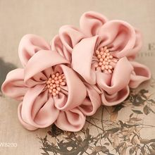 Imitation Silk Fabric Flower with Stamen Pistil Spring Hair Clip for Women High Quality Large Flower Barrettes for Girls