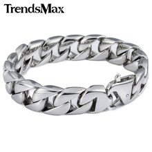 Trendsmax 14mm 316L Stainless Steel Bracelet Silver Color Round Curb Cuban Link Mens Chain Boys Wholesale Jewelry HB164