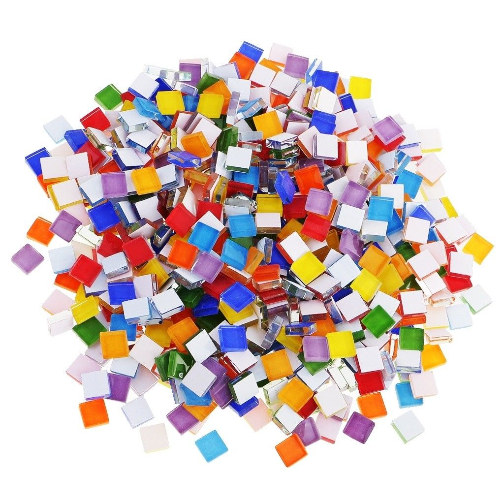 110pcs Tiles Mosaic Stained Glass Pieces Colored For Art Craft Bulk 1*1*0.4cm