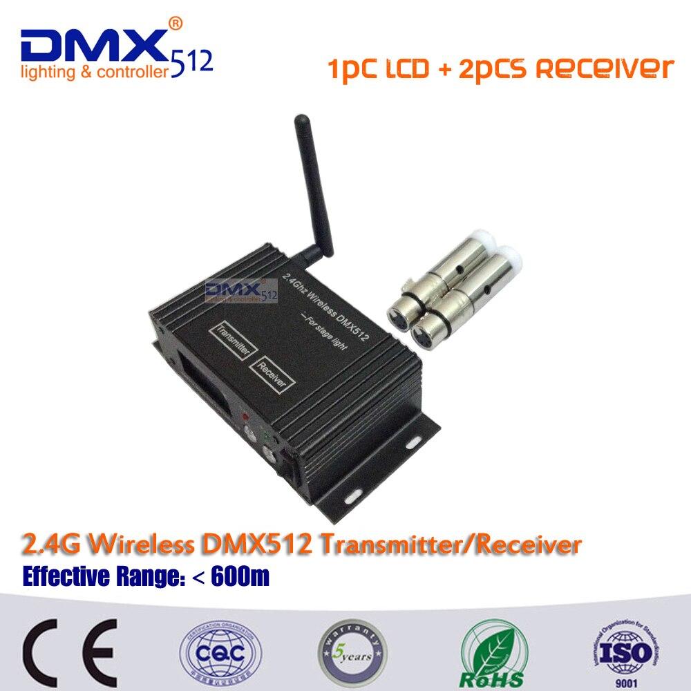 DHL Free shipping 1pcs LCD Display cable transceiver+2pcs DMX512 wireless mini receiver 2.4GHz XRL DJ disco equipment<br>