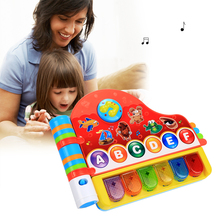 Infant Baby Boys Girls Puzzle Early Educational Toys Piano Musical Rhymes Book Toys With Light Kids Learning Machine