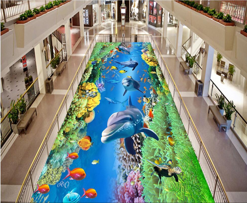 3 d pvc flooring custom photo Self-Adhesive Sea World Dolphin Turtle decoration bedroom painting 3d wall mural wallpaper<br>