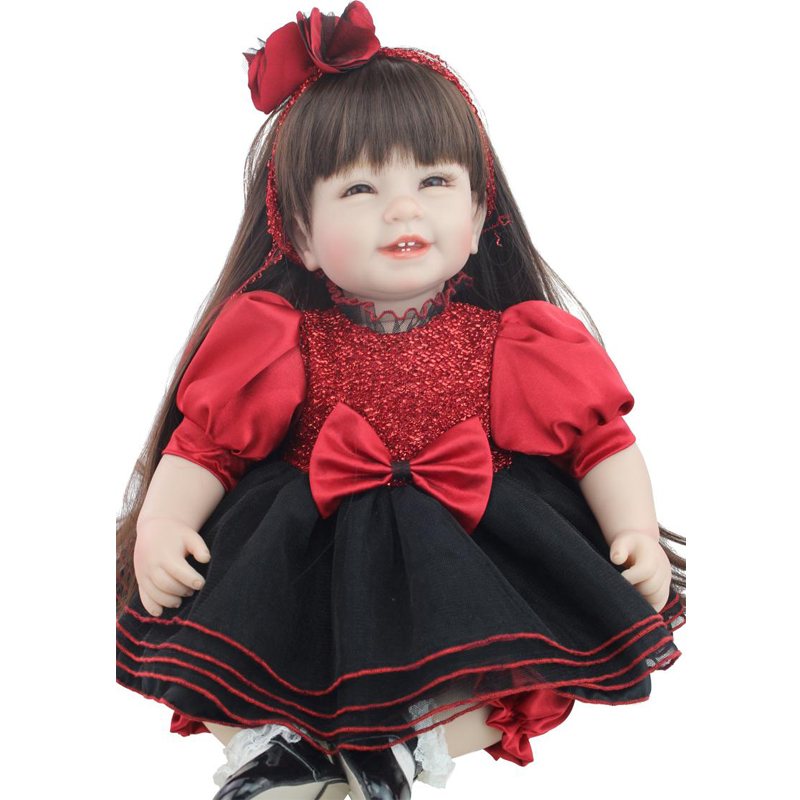 50-55cm Silicone Reborn Baby Doll Cute Dress Reborn Dolls Babies Long Hair Girl Doll Reborn Baby Toys To Children Free Shipping<br><br>Aliexpress