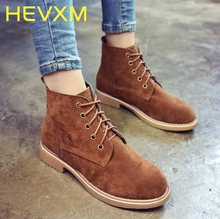 HEVXM Europe And The United States Round Low With Suede Lace Women Martin Boots New Casual Fashion Korean Version Female Boots