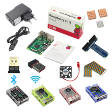 Raspberry Pi 3 Model B Starter Kit Pi 3+1 Acrylic Case +2A Power Supply + USB Cable + Fan + GPIO Adapter +Wifi Bluetooth Adapter
