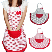 Fashion Lovely Cute Bow Knot Women Kitchen Restaurant Bib Cooking Aprons With Pocket(China)