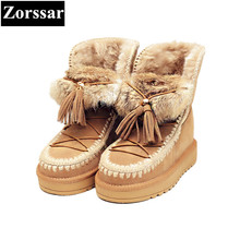 {Zorssar} 2017 NEW winter warm plush Womens snow Boots cow suede casual flat heel platform ankle Boots fashion women shoes flats