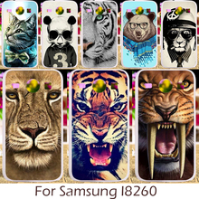 Akabeila Plastic Silicon Case For Samsung Galaxy Core I8260 I8262 GT-I8262 8260 GT i8262 8262 Cover Panda Tiger Lion Pattern(China)
