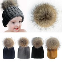 2017 Baby Lovely Beanie Raccoon Fur Pom Bobble Kids Woolen Hat Kids Warm Crochet Hats Kawaii Baby Winter Hat for Girls Boys(China)