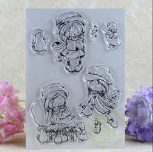 Scrapbook DIY Photo Album Card Rubber Chapter Transparent Seal cute girl Clear Stamp 65