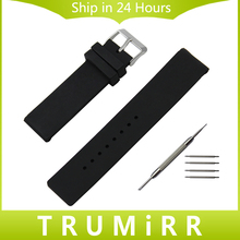 Silicone Rubber Watch Band Universal Watchband Stainless Steel Buckle Strap Wrist Bracelet Black White 16mm 18mm 20mm 22mm 24mm