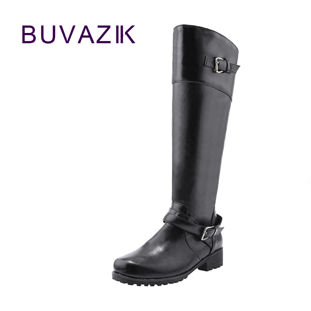 Autumn new boots for women 2017 fashion buckle pure color knee high shoes woman  big large size 41 42 comfortable  footwear <br>