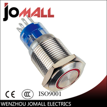 GQ16F-11E 16mm 1NO 1NC momentary LED light Ring Lamp type metal push button switch with flat round(China)
