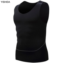 YISHIDA 2017 new sports vest mens fitness tank tops T-shirt sleeveless shirt compression shirt Athletic singlet Performance Tops