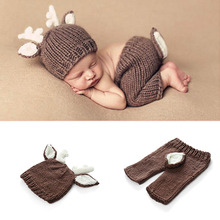 Wraps Newborn Photography Deer Design Baby Caps With Pants Set Handmade Cartoon Costume Knitted Crochet Christmas Style
