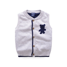 Brand Boy Vest Solid Cotton Crochet Sweater Knitted Pattern Kids Vest With Pockets Autumn O-Neck Toddler Vest Coat Boys Clothing