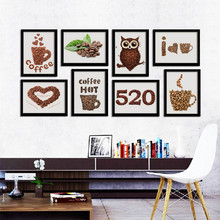 Modern Creative Art Canvas Prints and Posters Coffee beans owl on canvas Wall for coffee shop kids bedroom Home Decor DP0259(China)