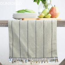 DUNXDECO Modern Linen Cotton Stripe Handmade Shell Tassle Store Table Runner Party Kitchen Home Textile Table Cover Decoration