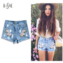 BiSHE Women Embroidery Summr Pants Blue Denim Flower Jeans Female Ladies High Waist Sexy Fit Fringe Rose Mini Shorts Femme